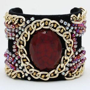 Velvet Chained Cuff Bracelet